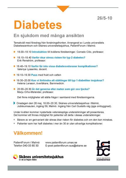 Temakväll om diabetsforskning 26 maj 2010