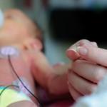 För tidigt född som håller mammas hand