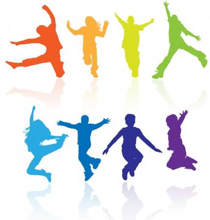 illustration av unga personer som hoppar