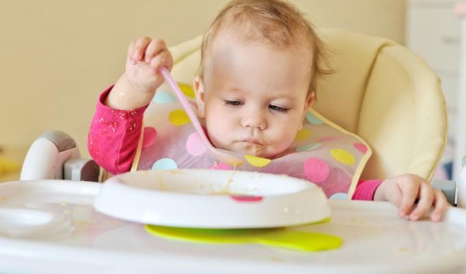 baby girl is eating