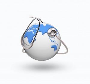 jordglob med stetoskop_ COLOURBOX7396972