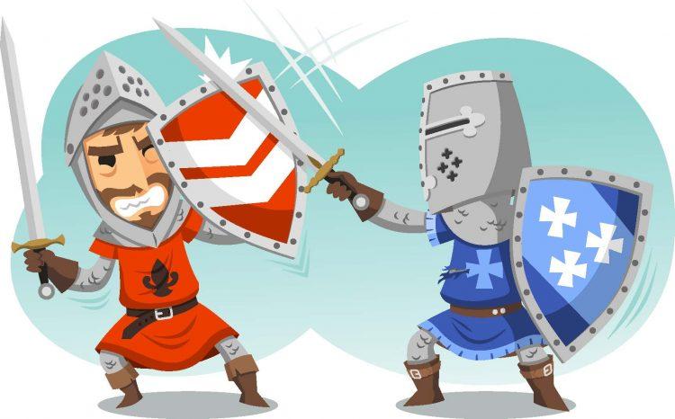 tecknad illustration av medeltidsriddare som slåss med svär