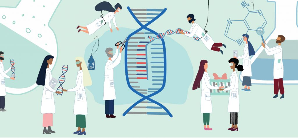 Bilden är en tecknad illustration av forskare klädda i vita labbrockar och som samtliga på ett eller annat sätt gör något med en DNA-spiralt