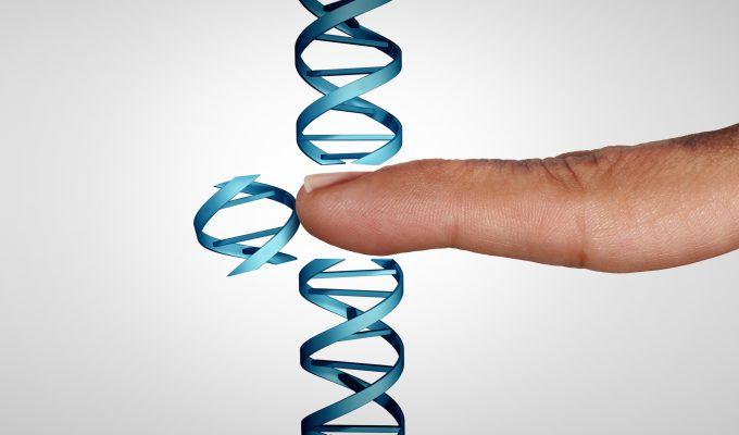 Bilden är en illustration av en lodrät DNA-spiral och ett finger som petar ut en bit av DNA:t bilden ska illustrera genterapi, ett tänkt byte av en skadad bit DNA som tas bort och senare kask ersätts med en fungerande bit