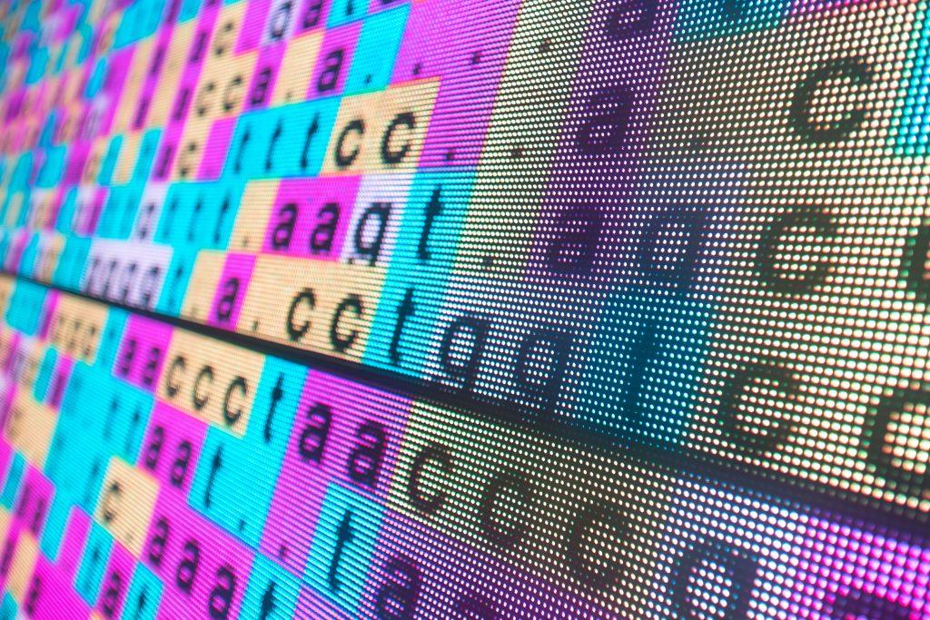 bilden visar bokstäverna i en DNA-sekvens. Fyra olika färger representerar de fyra olika bokstäverna A, C, G, T