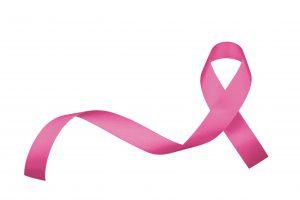 På bilden ses rosa bandet, en symbo för kampen mot bröstcancer