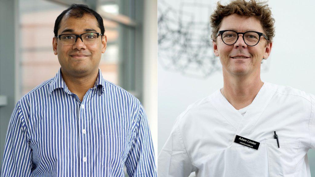 """porträttbilder av Tirthankar Mohanty och Adam Linder. Tirthankar Mohanty har kortklippt svart hår, bär glasögon och är klädd i en blåvitrandig skjorta. Adam Linder har kort, brunt, lite yvigt hår och även han bär glasögon. Han är klädd i vit sjukhusskjorta och på bröstet ser man hans namnskylt """"Adam Linder, infektionsläkare"""""""